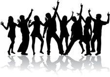 Siluette di dancing Immagine Stock Libera da Diritti