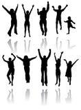 Siluette di Dancing Fotografie Stock Libere da Diritti