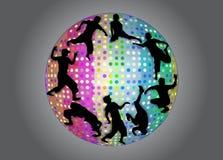 Siluette di dancing in palla stroboscopica Fotografie Stock Libere da Diritti