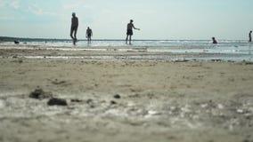 Siluette di diverse gente e famiglie in vacanza sulla spiaggia nel tramonto video d archivio
