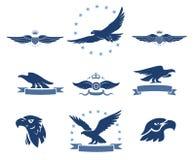 Siluette di Eagles messe Immagine Stock