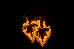 siluette di Fiamma-combustione del cuore Fotografie Stock Libere da Diritti