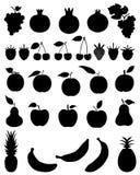 Siluette di frutta Fotografia Stock
