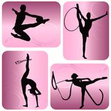 Siluette di ginnastica ritmica Fotografia Stock