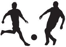 Siluette di gioco del calcio illustrazione vettoriale