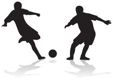Siluette di gioco del calcio Fotografia Stock Libera da Diritti