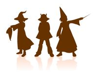 Siluette di Halloween dei bambini Fotografia Stock Libera da Diritti