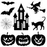 Siluette di Halloween impostate illustrazione di stock
