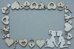 Siluette di legno con Copyspace Fotografia Stock