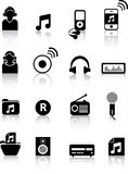 Siluette di musica Immagini Stock Libere da Diritti