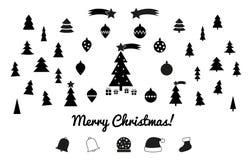 Siluette di Natale - icone Immagine Stock Libera da Diritti