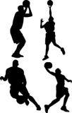 Siluette di pallacanestro Fotografie Stock