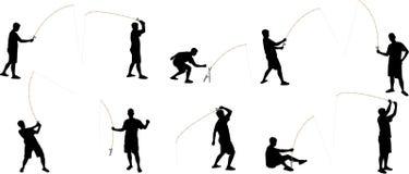Siluette di pesca Immagine Stock