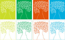 Siluette di quattro stagioni degli alberi delle spirali Fotografia Stock Libera da Diritti