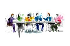 Siluette di riuscita gente di affari che lavora alla riunione Schizzo con colore di acqua colourful illustrazione di stock
