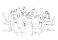 Siluette di riuscita gente di affari che lavora alla riunione abbozzo illustrazione di stock