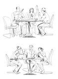 Siluette di riuscita gente di affari che lavora alla riunione abbozzo illustrazione vettoriale