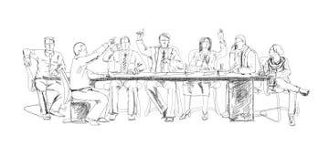 Siluette di riuscita gente di affari che lavora alla riunione abbozzo royalty illustrazione gratis
