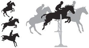 Siluette di salto del cavallo Fotografia Stock Libera da Diritti