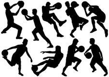 Siluette di sport con la palla Immagini Stock Libere da Diritti