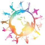 Siluette di sport del globo Immagini Stock Libere da Diritti