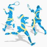 Siluette di sport di tennis delle donne Immagini Stock