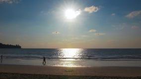 Siluette di una coppia che cammina su una bella spiaggia - in 4k archivi video