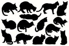 Siluette di vettore dei gatti nelle posizioni differenti Fotografia Stock Libera da Diritti