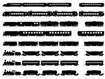 Siluette di vettore dei treni e delle locomotive. Fotografie Stock Libere da Diritti