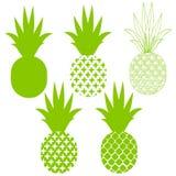 Siluette di vettore dell'ananas nel verde differente Fotografie Stock