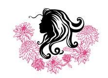 Siluette di vettore delle acconciature della ragazza profilo Siluetta delle ragazze Siluetta di bella donna con il fiore illustrazione di stock