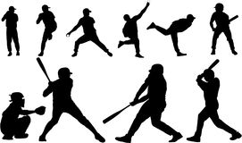Siluette di vettore di baseball Immagini Stock Libere da Diritti
