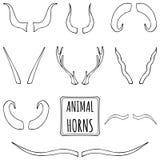 Siluette disegnate a mano messe dei corni animali Fotografie Stock Libere da Diritti