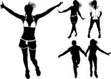 Siluette e ragazzo della ragazza di Dancing Fotografie Stock Libere da Diritti