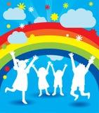 Siluette felici del bambino Fotografie Stock