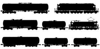 Siluette ferroviarie impostate Immagini Stock