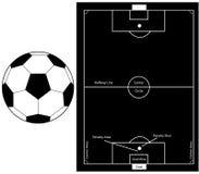 Siluette gioco del calcio/di calcio Immagine Stock