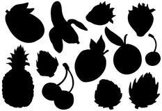 Siluette messe, frutta esotica della frutta di estate Fotografia Stock Libera da Diritti