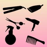 Siluette messe icone moderne degli strumenti di lavoro di parrucchiere Raccolta di simbolo degli strumenti di lavoro di parrucchi Fotografia Stock
