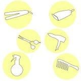 Siluette messe icone moderne degli strumenti di lavoro di parrucchiere Raccolta di simbolo degli strumenti di lavoro di parrucchi royalty illustrazione gratis