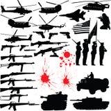 Siluette militari Fotografia Stock Libera da Diritti