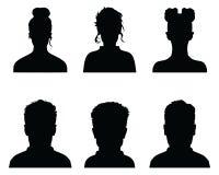 Siluette nere dei profili dell'avatar illustrazione vettoriale