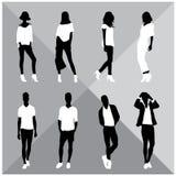 Siluette nere della donna e dell'uomo Fotografie Stock
