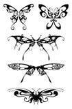 Siluette nere della farfalla Fotografie Stock