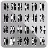 Siluette nere delle coppie, donna, uomo Immagine Stock
