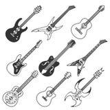 Siluette nere di vettore delle chitarre illustrazione di stock