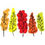 Siluette nude degli alberi Autumn Set disegnato a mano Illustrazione di vettore illustrazione di stock