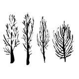 Siluette nude degli alberi Insieme disegnato a mano Illustrazione di vettore illustrazione di stock