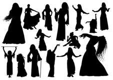 Siluette orientali dei ballerini Immagine Stock