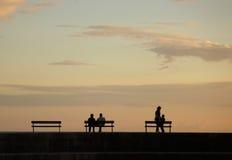Siluette sopra il tramonto Fotografia Stock